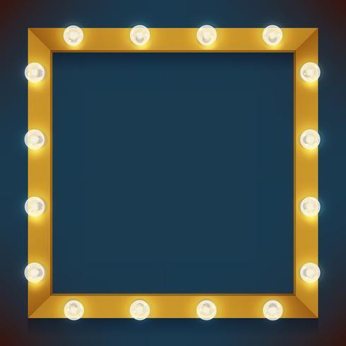 Cadre carré avec ampoules vecteur