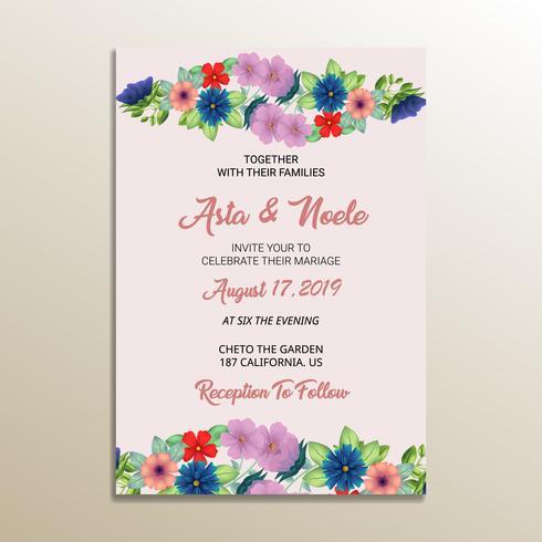 joli cadre d'invitation de mariage floral vecteur