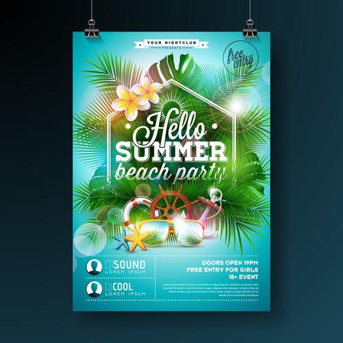 Summer Beach Party Flyer Design avec fleur, bouée de sauvetage et lunettes de soleil sur fond bleu. Modèle de conception de vecteur d'été avec des éléments floraux de la nature, des plantes tropicales et lettre de typograpy