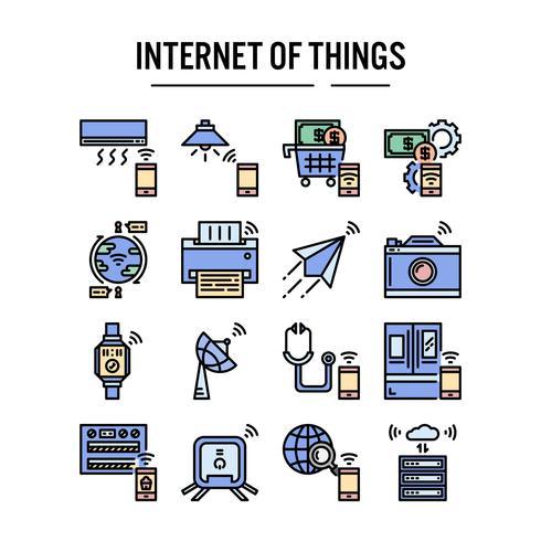 Internet des icônes de choses dans la conception de contour rempli vecteur