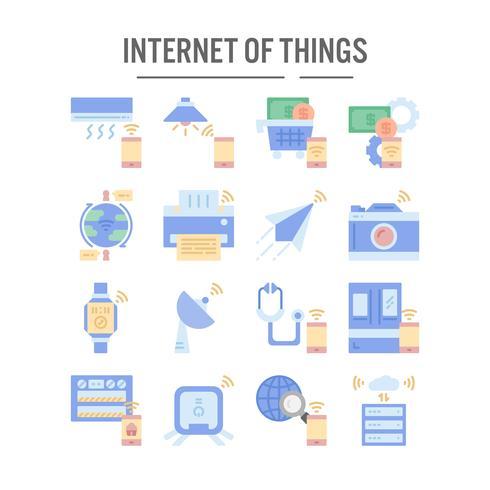 Internet de l'icône des objets au design plat vecteur