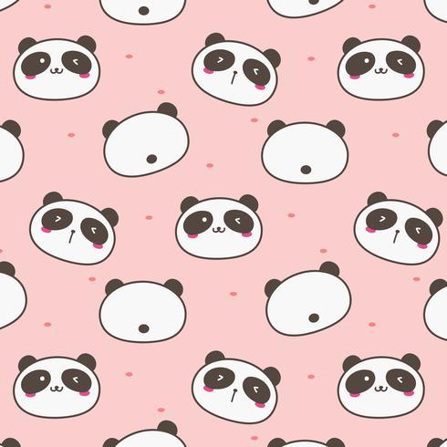 Panda mignon vecteur de fond. Fun Doodle. Illustration vectorielle à la main.