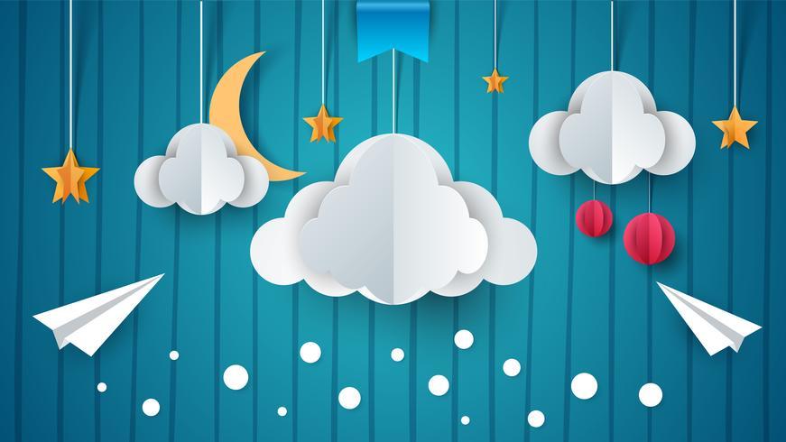 Illustration de papier. Avion, nuage, lune, étoile. vecteur