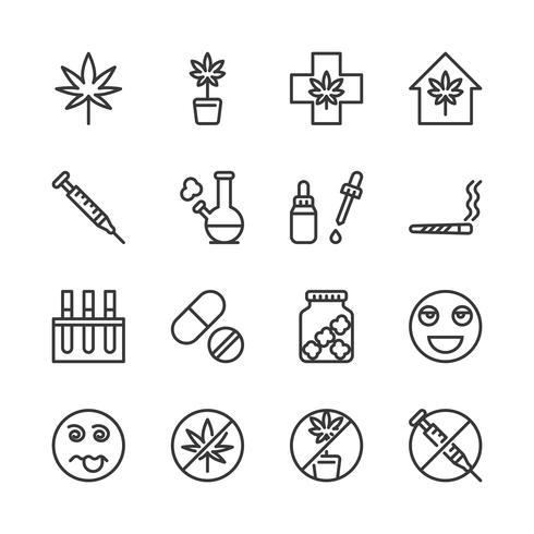 Jeu d'icônes de cannabis. Illustration vectorielle vecteur