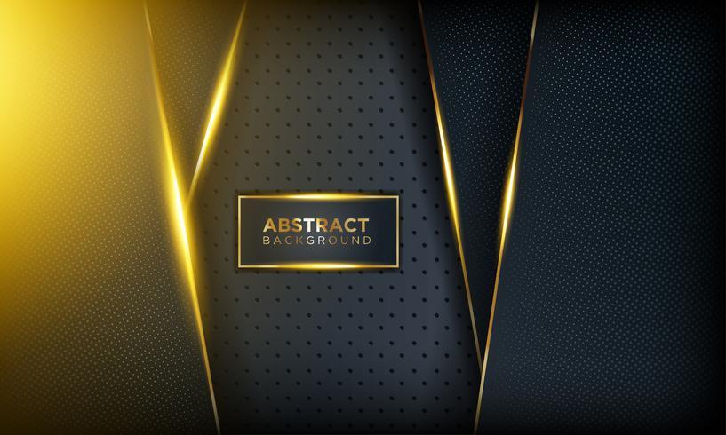Fond sombre moderne avec brillance, ligne dorée et paillettes vecteur