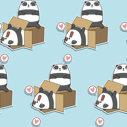 Pandas kawaii sans couture et motif de boîte vecteur