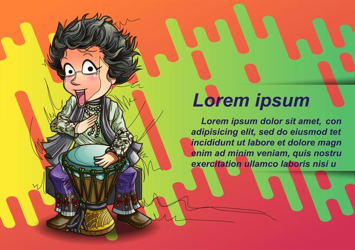 Festival de musique en style cartoon. vecteur