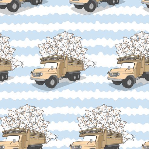 Chats kawaii dessinés sans soudure sur le modèle de camion. vecteur