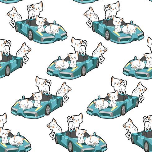 Chats kawaii sans couture et motif de super voiture bleue vecteur