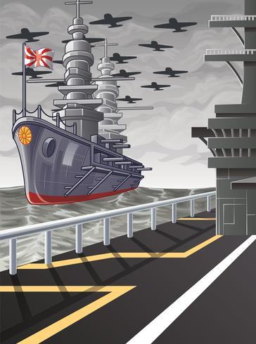 Cette image est une guerre mondiale de vecteur en style cartoon.