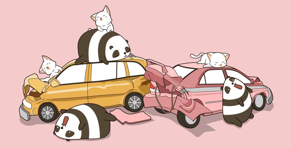 Pandas et chats Kawaii en cas d'accident de voiture. vecteur