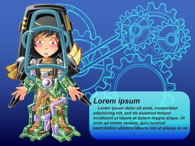 Intelligence artificielle en style cartoon. vecteur