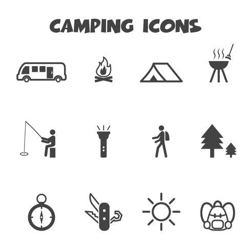 symbole d'icônes de camping vecteur