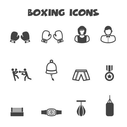 symbole d'icônes de boxe vecteur