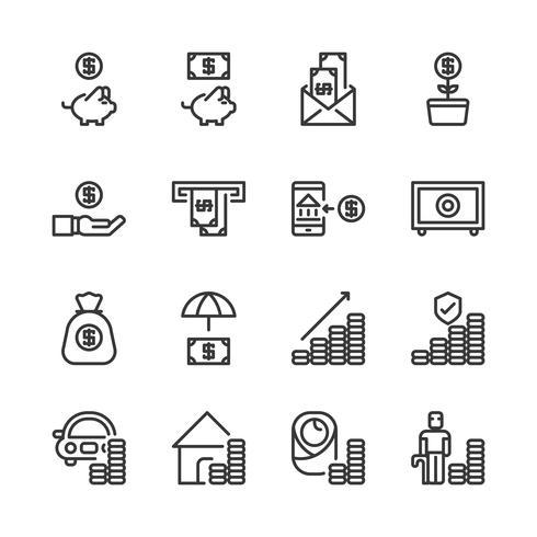 Économiser de l'argent et jeu d'icônes d'investissement. Illustration vectorielle vecteur