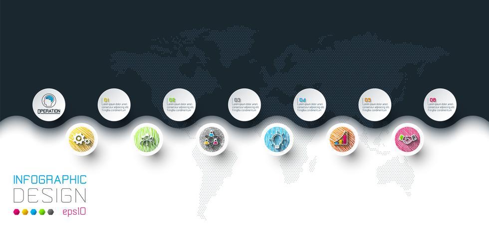Les étiquettes de cercle d'affaires forment l'infographie en horizontal. vecteur