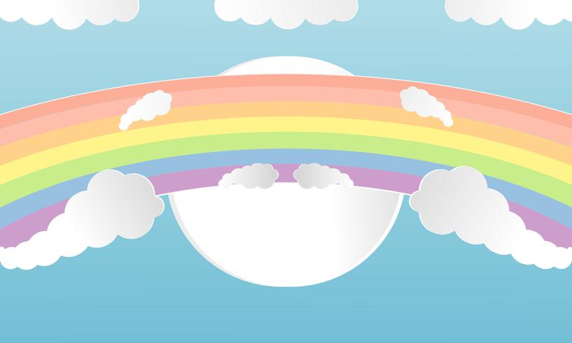 L'été des nuages colorés et l'art du papier arc-en-ciel coupé style. Concept de design vector illustration avec l'été de la saison sur fond clair ciel