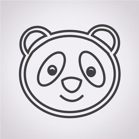signe de symbole icône panda vecteur