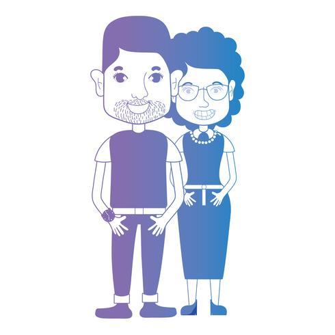 ligne couple avec coiffure et vêtements vecteur