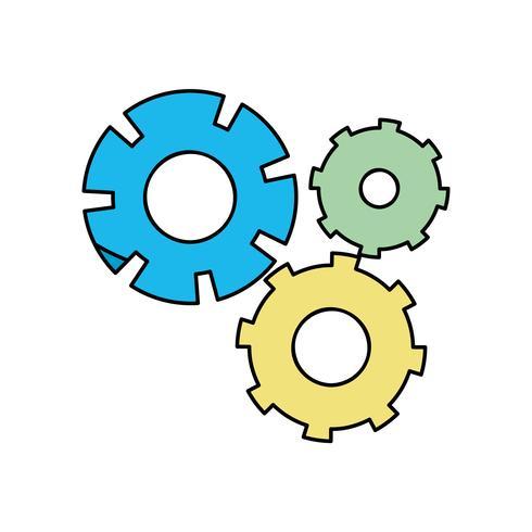 processus d'ingénierie de l'industrie des engrenages de couleur vecteur