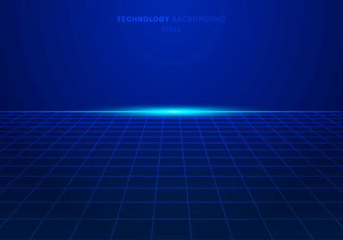 Modèle de grille carrée abstrait technologie numérique bleu sur fond avec lumière exploser. vecteur