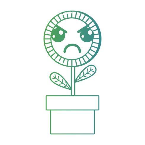 ligne kawaii mignon plante de tournesol en colère vecteur