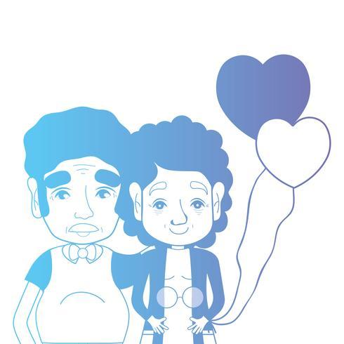 ligne de couple avec des ballons de coiffure et coeurs vecteur