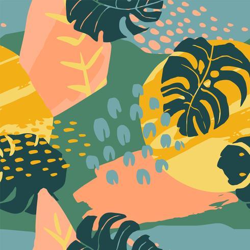 Abstrait créatif modèle sans couture avec des plantes tropicales et artistique. vecteur