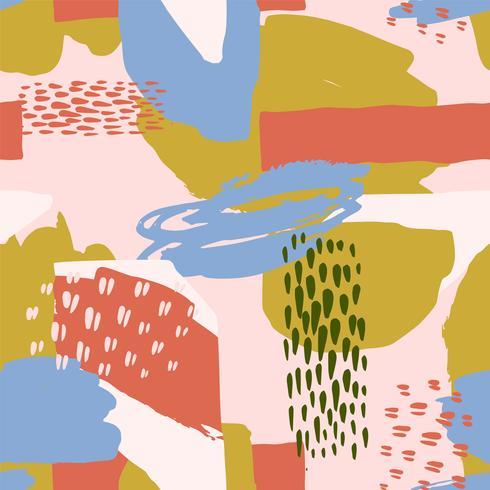 Modèle sans couture artistique abstrait avec des textures dessinées à la main tendance vecteur