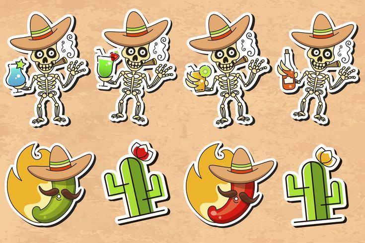 Vecteur autocollant culture mexicaine sur fond vintage