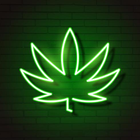 Médical Cannabis Logo Feuille Néon Lumineux. vecteur