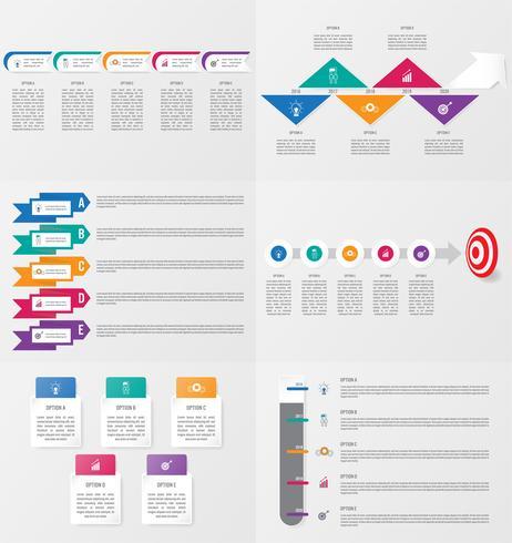 Ensemble de modèle d'élément infographie avec options. vecteur
