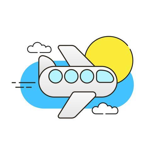Avion dans le ciel sur fond blanc Vector Image prêt pour votre conception