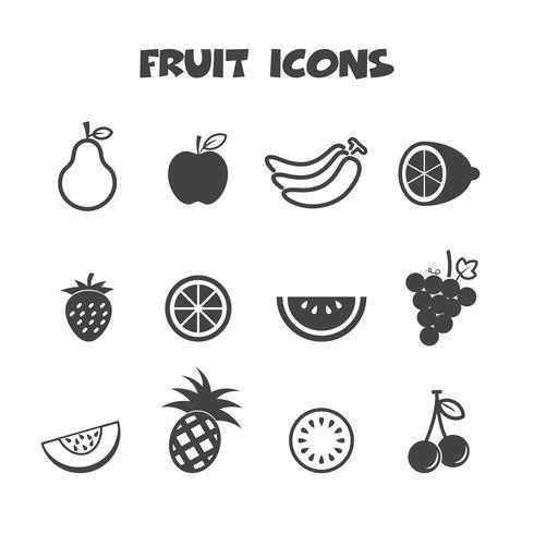 symbole d'icônes de fruits vecteur