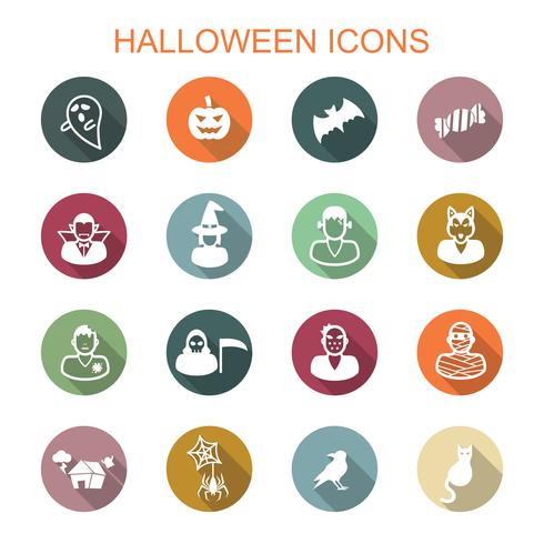 icônes de l'ombre portée halloween vecteur