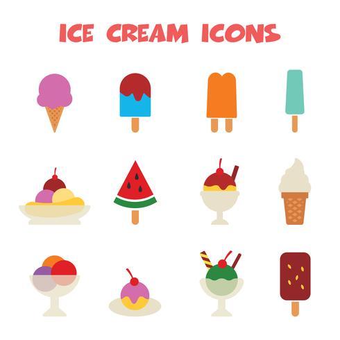 icônes de la crème glacée vecteur