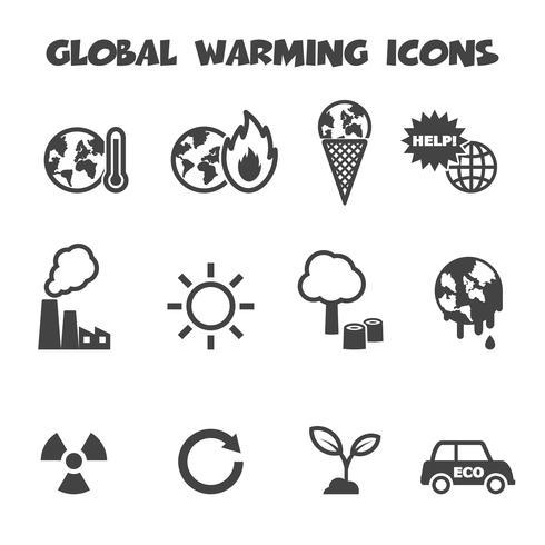 icônes du réchauffement climatique vecteur