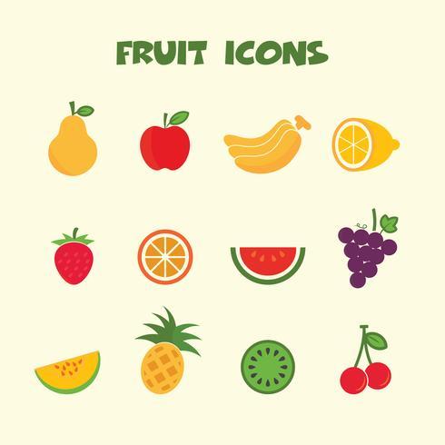 symbole d'icônes de couleur fruits vecteur