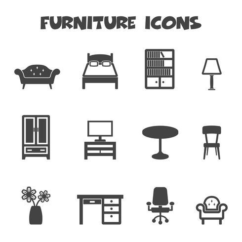 symbole d'icônes de meubles vecteur