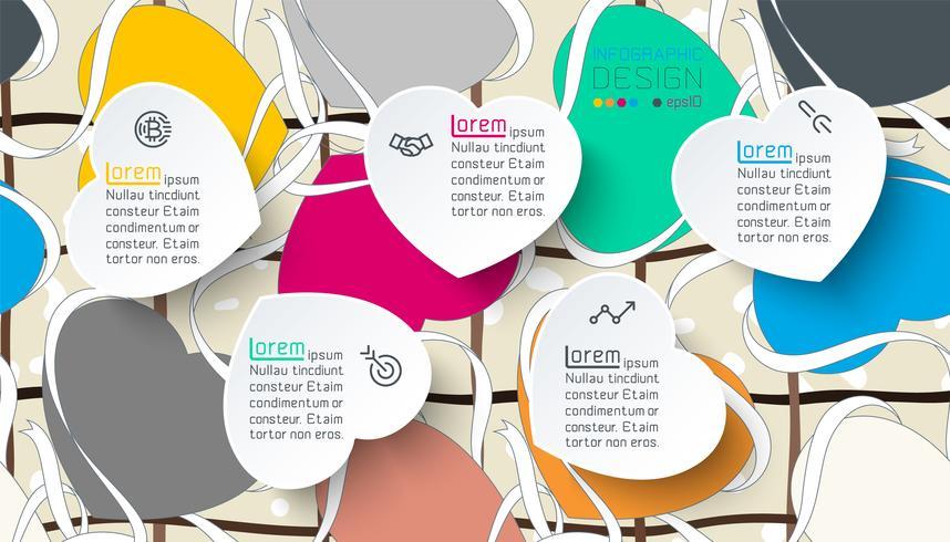 Infographie avec étiquette coeur coloré. vecteur