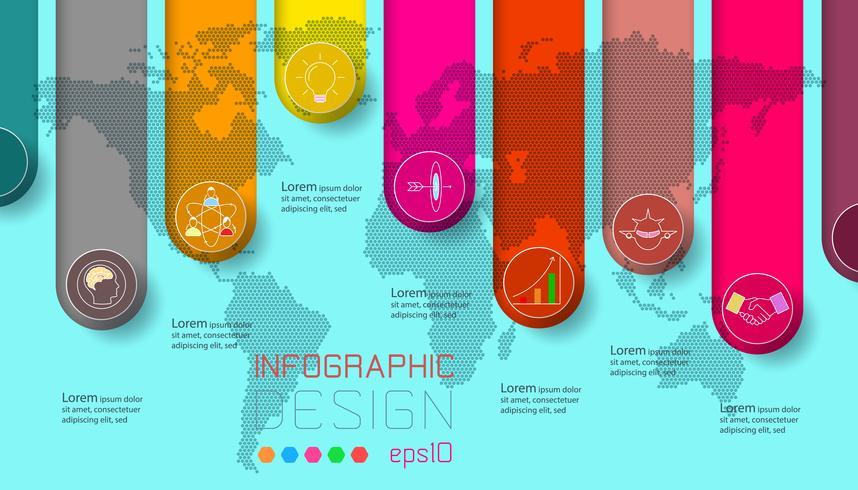 Six étiquettes avec l'icône de l'entreprise et le monde carte infographie de fond. vecteur