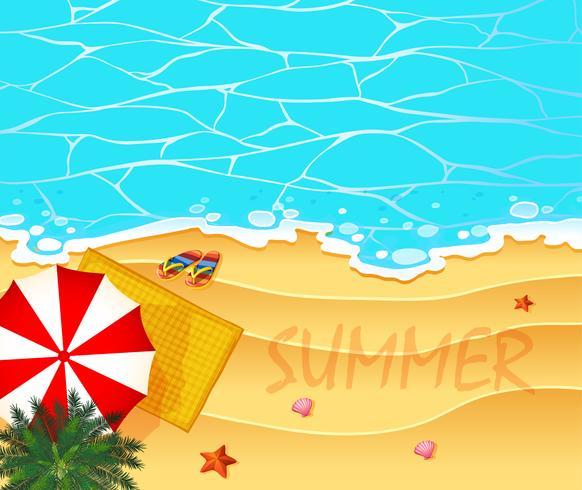 Thème de l'été avec fond océan et plage vecteur