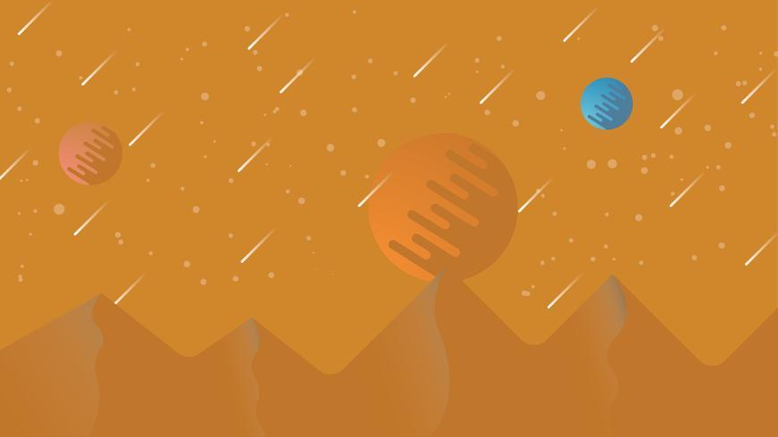 Planète sur le fond d'illustration de la colline vecteur