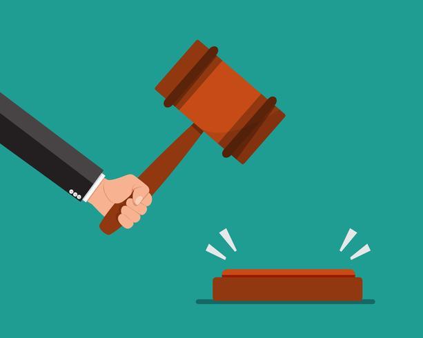 Main tenant le marteau des juges. Illustration vectorielle vecteur
