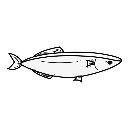 ligne de poisson de fruits de mer délicieux avec la nutrition naturelle vecteur