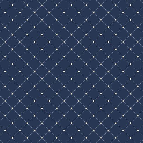 Modèle sans couture de carrés de lignes pointillées sur fond bleu foncé. Répétable diagonale de forme géométrique. vecteur