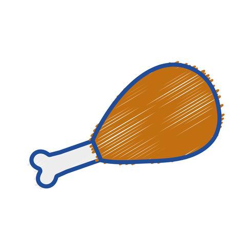 poulet râpé cuisse rôti resh nourriture vecteur