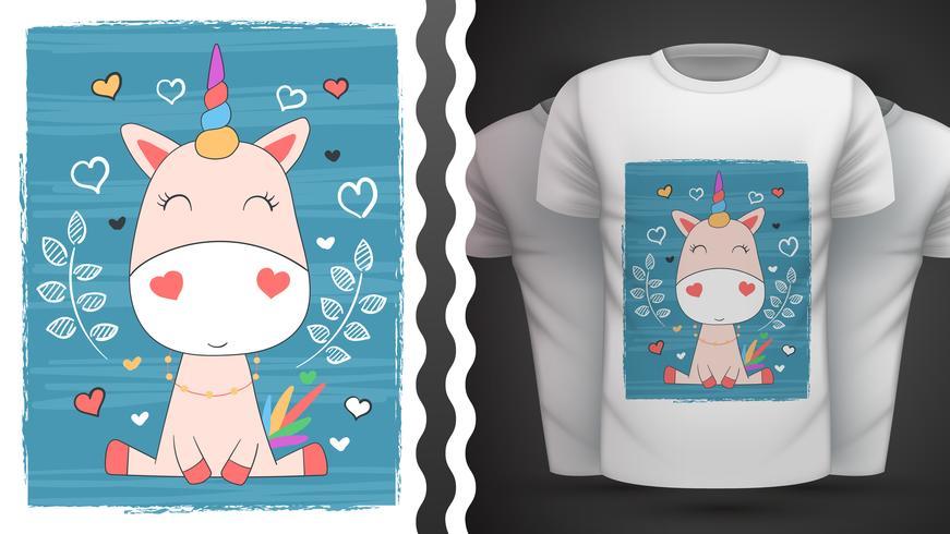 Tee shirt Licorne mignonne - idée d'impression vecteur