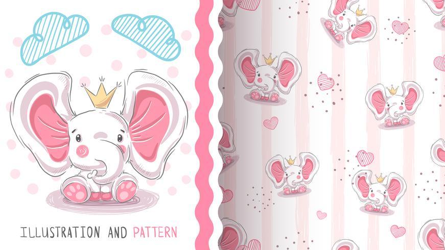 Éléphant de princesse mignon - modèle sans couture vecteur