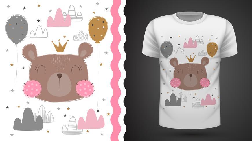 Ours mignon - idée d'un t-shirt imprimé. vecteur